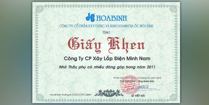 Minh Nam nhận đựơc giấy khen từ nhà thầu Hòa Bình (HBC)